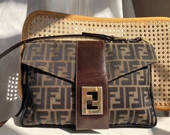 146497456 Vintage FENDI zucca vintage 80s logo print / Handbag purse bag