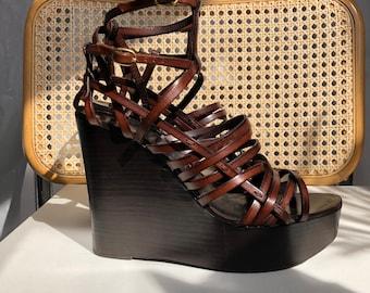 f4de1c23e YSL vintage platform sandals Yves Saint Laurent brown leather wedge 90s 00s