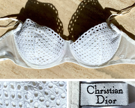 DIOR vintage white eyelet bra 75B / Christian Dior