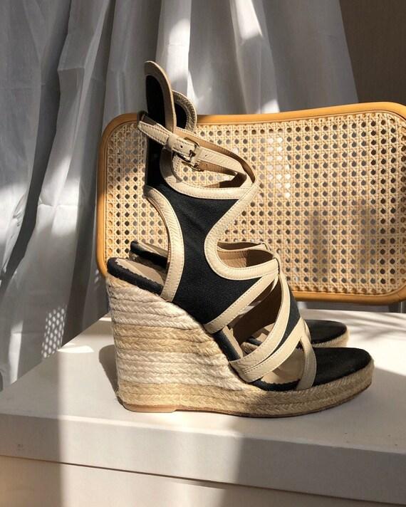 BALENCIAGA wedge espadrille sandals 00s strappy Beige Black