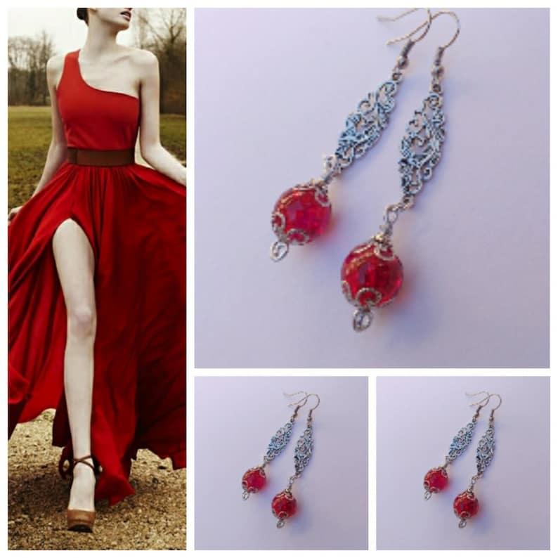 red earrings silver earrings Victorian filigree earrings Gypsy style silver Boho Earrings Bohemian silver red earrings Ruby red earrings