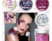 Chunky Glitter Holographic Iridescent Silver Festival Hair Eye Body Face Glitter Makeup Loose Cosmetic Glitter Nail Art Slime Way Melts