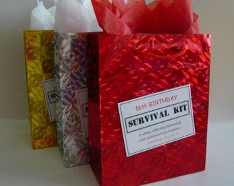 MALE 16th Birthday Survival Kit Fun Sweet 16 Present Novelty Gift Idea Keepsake