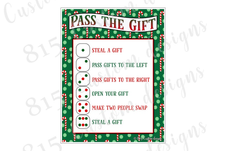 graphic about Left Right Christmas Game Printable known as Electronic Down load Basically - P the Present Xmas Recreation, White Elephant Present Swap, Printable JPG Down load
