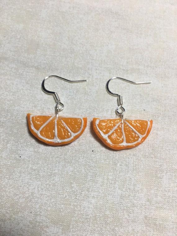 Orange Slices Polymer Clay Dangle Earrings