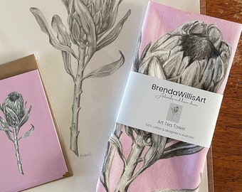 Pink Ice Protea art tea towel.  Flower graphite drawing artwork on 100% cotton by local artist. Colour Kitchen linen or unique gift.