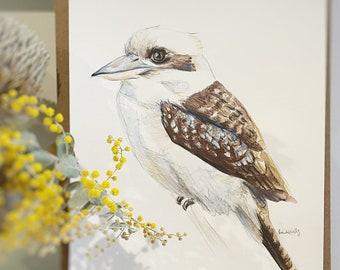 Original Australian Kookaburra painting artwork. A4 Native bird watercolour pencil sketch. Aussie fauna unique gift, modern country decor