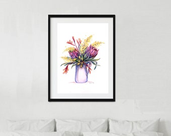 Framed watercolour flower jug artwork. Ready to hang artwork with mat and choice of frame. Pencil sketch. Home, Bedroom decor, gift idea