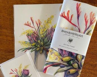Australian flower jug art tea towel. Watercolour native flora artwork on 100% cotton by local artist. Colour Kitchen linen or unique gift.