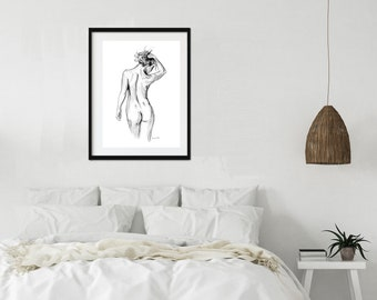 Framed watercolour female nude figure. Ready to hang artwork with mat and choice of frame. Pencil sketch. Home, boudoir or Bedroom decor,