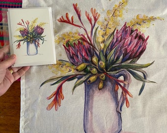 Australian flower art tea towel & card set. Watercolour native flora artwork on 100% cotton with matching card. Kitchen linen or unique gift