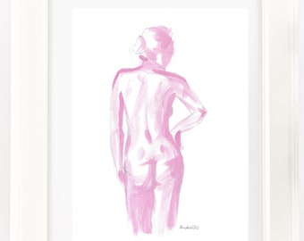 Pink nude female figure acrylic painting print. Pencil sketch . Unique Gift for her, elegant boudoir, bathroom, Scandi or contemporary decor