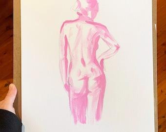 Original female nude painting. A3 life figure pencil sketch. Gift for her, boudoir bedroom art, boho or scandi home decor