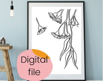 Australian Gum Blossom pen drawing downloadable PDF. Line drawing printable artwork. Foral Digital file. Home decor, gift or colouring in.