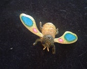 Bright color fly brooch-enamel insect-colorful bug-art deco insect-fluorescent colors-hat pin-unisex-insect jewelry