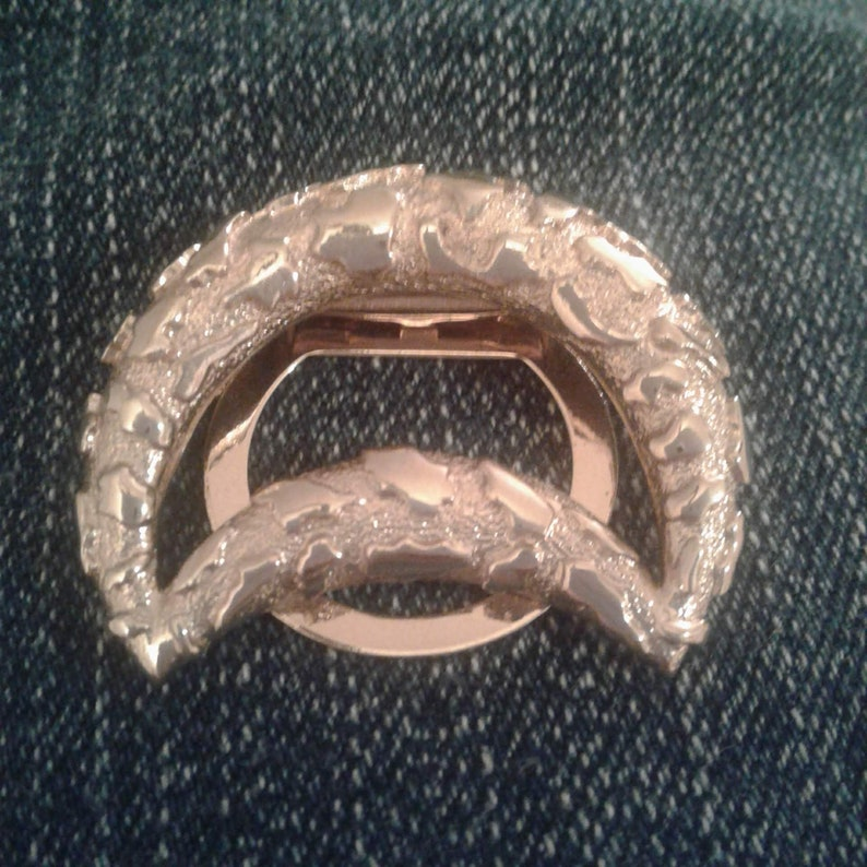 crescent shape 1980 gold scarf holder retro gold scarf clip, chunky layered scarf ring