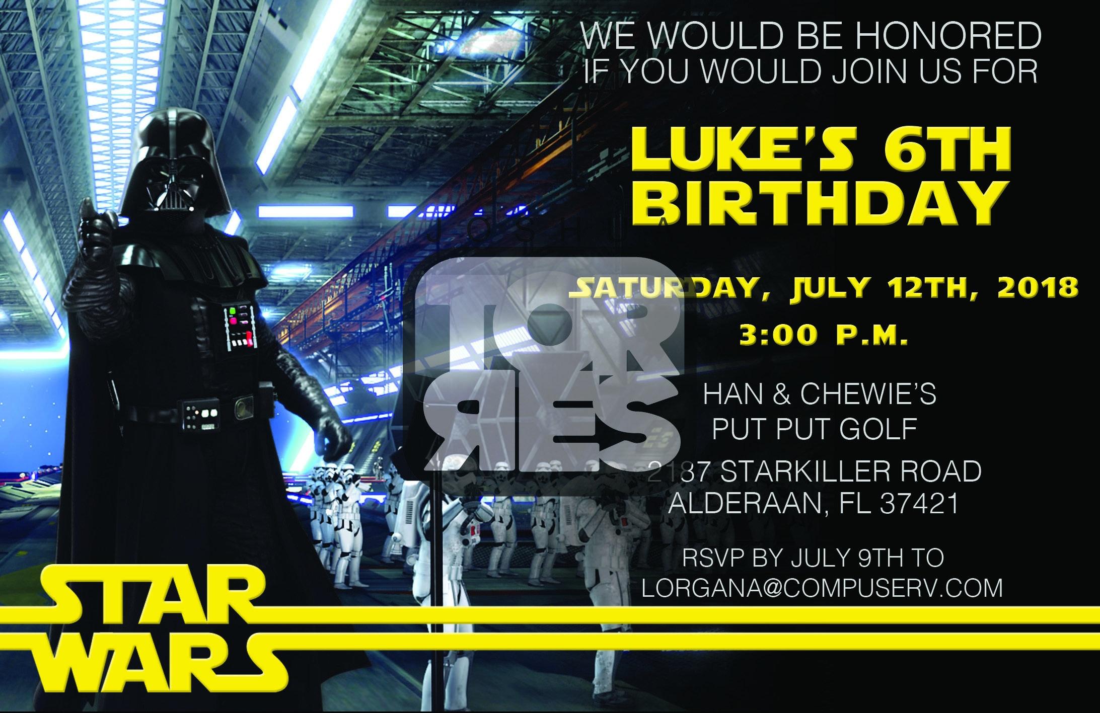 Darth Vader Invitation Star Wars Birthday Invitation Etsy
