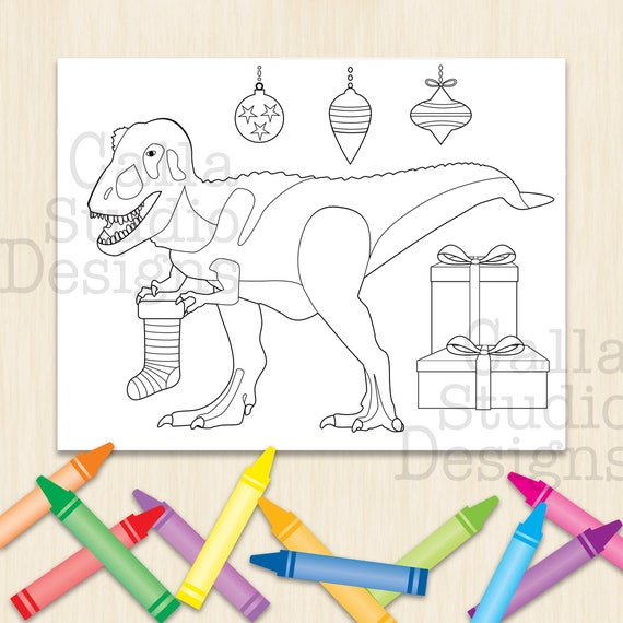 Happy T Rex Celebrating Christmas Coloring Page Instant Etsy