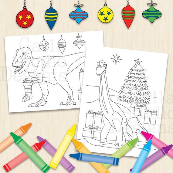 Happy Brontosaurus and T-Rex coloring pages to download and print. Even Dinos like Christmas. Instant download.
