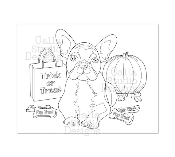 Cute French Bulldog Halloween Coloring Page. Instant Digital Etsy