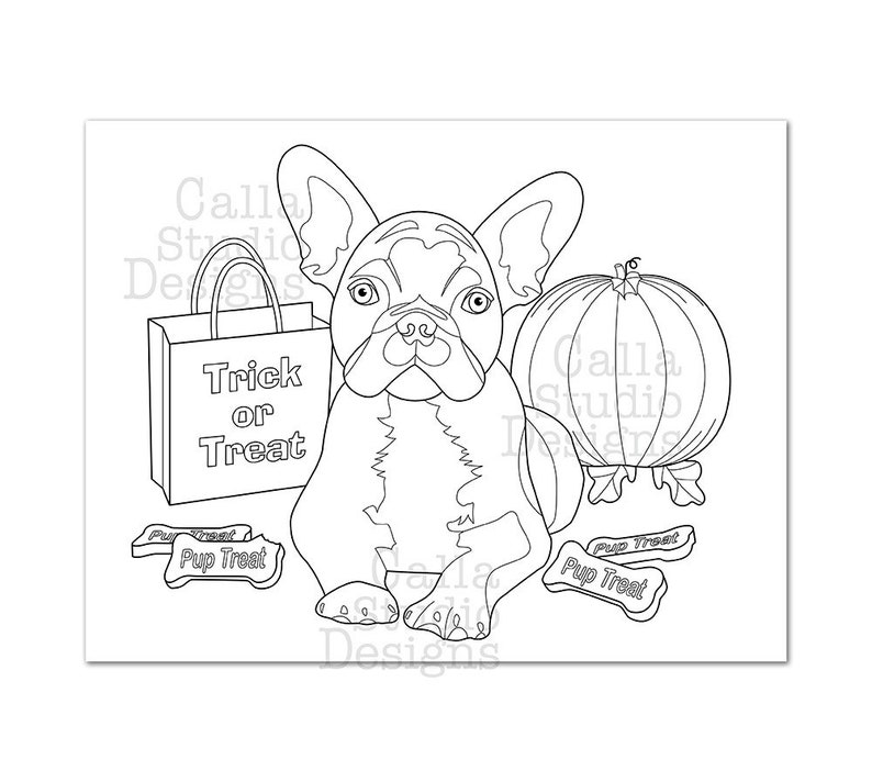 Cute French Bulldog Halloween coloring page. Instant ...