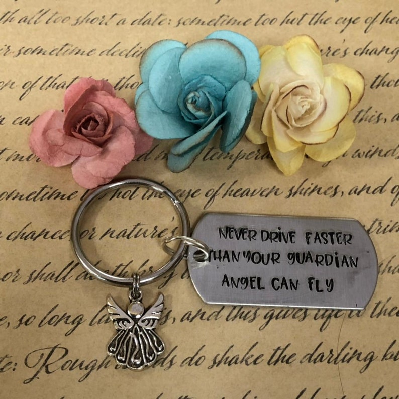 guardian angel keychain angel keychain driving keychain Never Drive Faster Than Your Guardian Angel Can Fly keychain