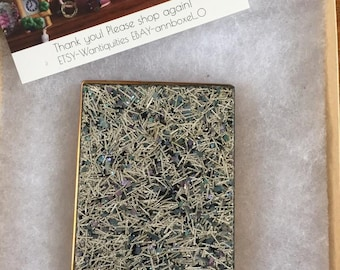 Vintage mid century brass / formica powder compact unmarked