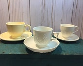 Fiesta Wedgewood Meissen cup and saucer, teatime gift, coffee, white place settings, tea for one,