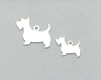 d35308289 Sterling Silver Scottie Dog Charm, Scottish Terrier Charm, Small Dog Charm, Scottie  Dog Pendant, 925 Silver, Bracelet Charms