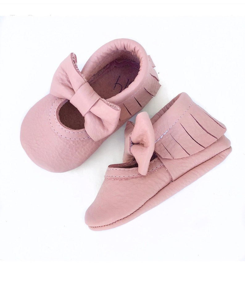 035309ed7e28b Baby Pink Light Pink Baby MaryJane Moccs, Moccasins, Boy Shoes, Booties,  Baby Shower, Birthday Gift
