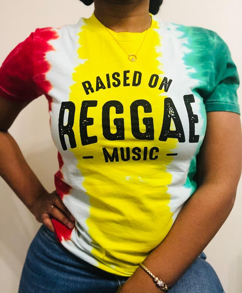 DJ shirt Jamaica Shirt Music Shirt Raised on Reggae Music Buju Bob Marley Rasta Shirt