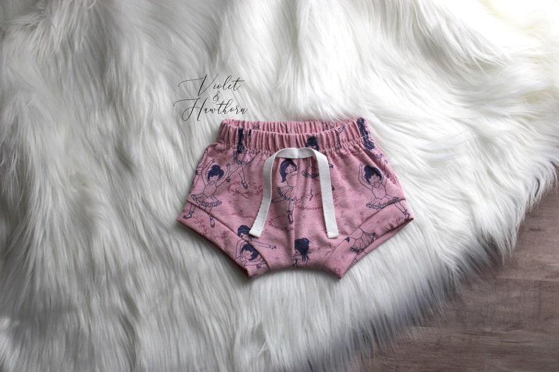 Ballerina Shorties Ballerina Shorts Diaper Cover Pink Ballerina Bloomers Organic Shorties Baby Bummies Ready to ship 6-9M