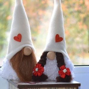 Scandinavian gnome Tomte Nisse Valentine/'s dolls Mascot for girl Gift for girl Swedish gnome Charming girl gnome Valentine gnome