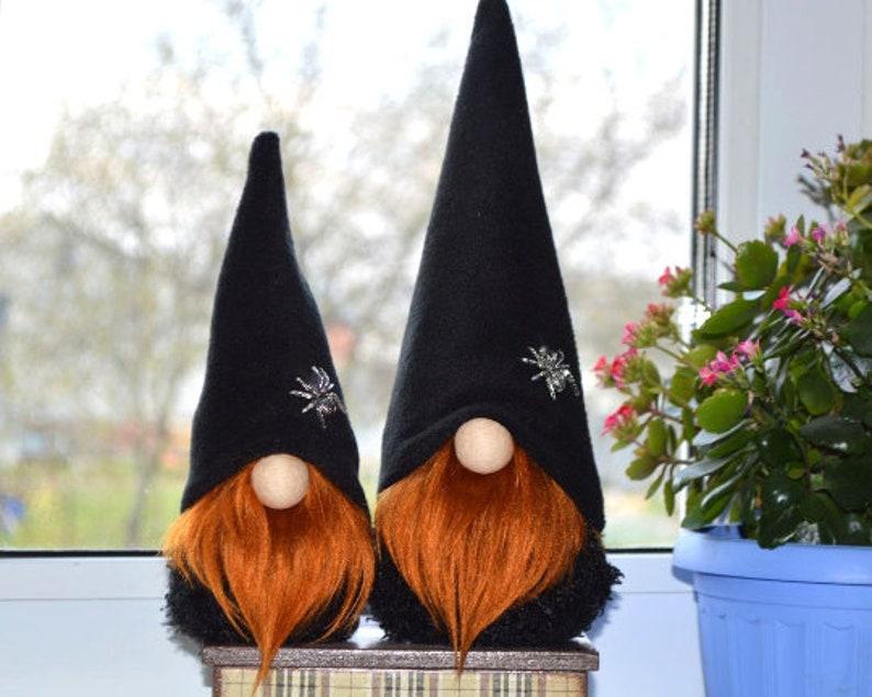 trick-or-treat farmhouse decor Halloween Decoration Gnome Tomte Nisse Halloween ornaments black and orange Scandinavian Gnome Boo