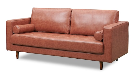Mid Century Danish Style Modern Tufted Sofa with Walnut Legs, Contemporary  Couch, Upholstered with Brown PU Leather Sofa Retro Design Look