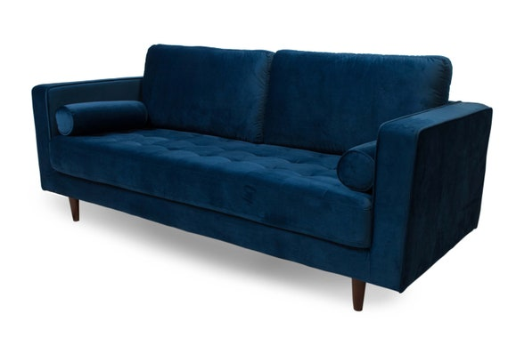 Surprising Mid Century Danish Style Modern Tufted Sofa With Walnut Legs Contemporary Couch Upholstered With Blue Velvet Sofa Retro Design Look Spiritservingveterans Wood Chair Design Ideas Spiritservingveteransorg