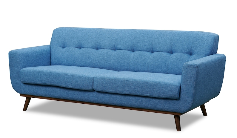 Mid Century Modern Contemporary Style Sofa with Angled Walnut Legs, Tufted  Tight Back, Danish Style Modern Couch, Retro Style Seating