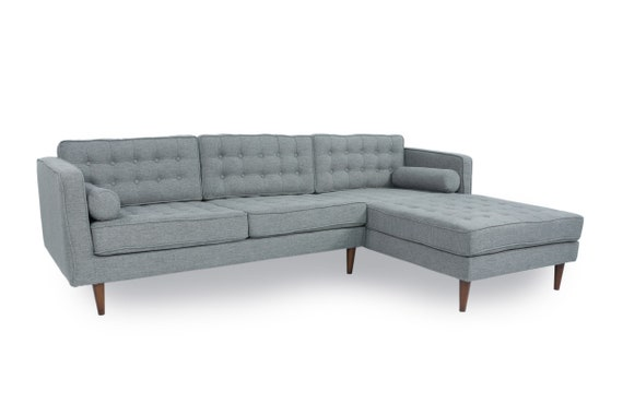 Mid Century Tufted Modern Danish Style Sectional Sofa with Walnut Legs,  Reversible Back Cushions, L Shaped Contemporary Style Corner Couch