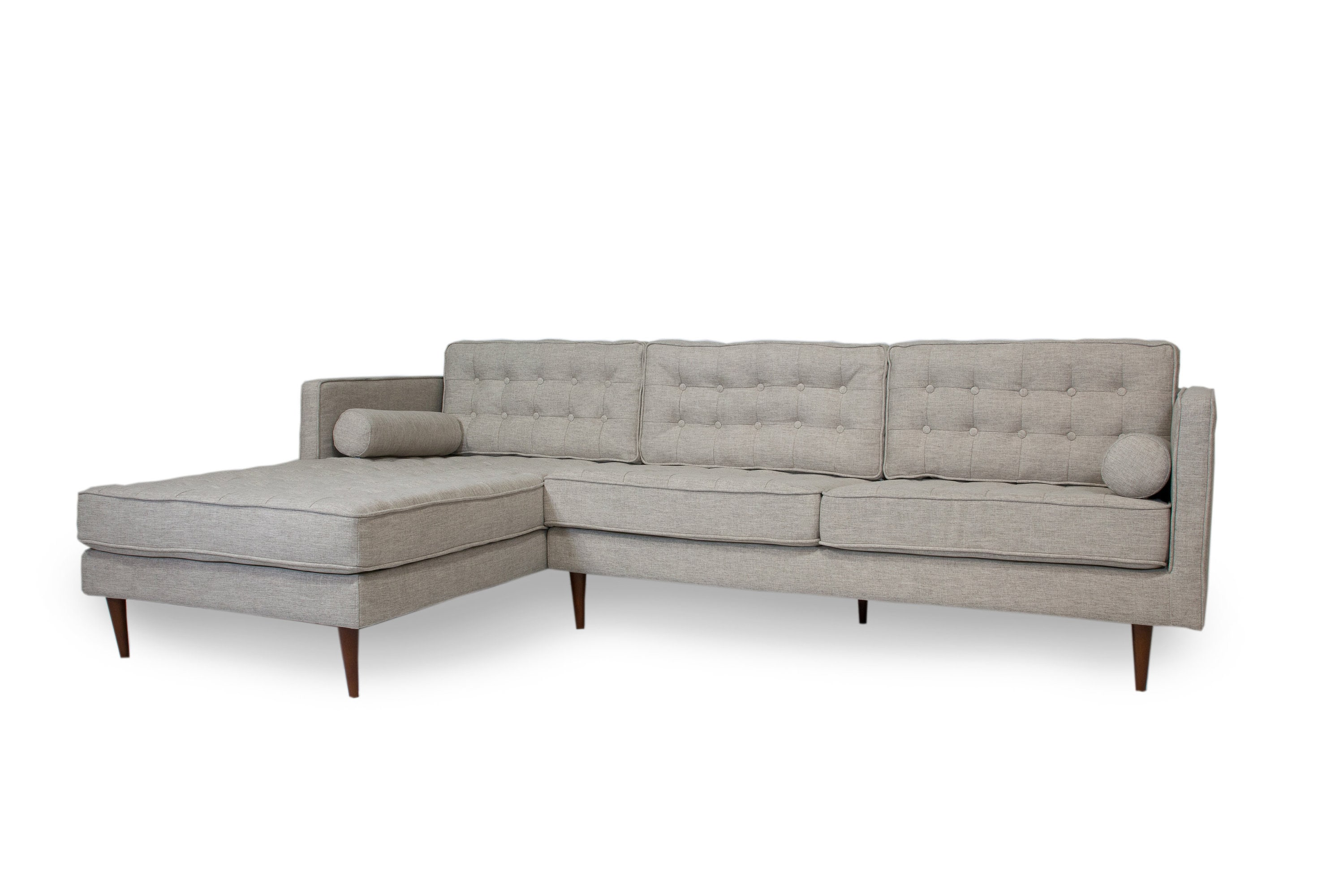 Mid Century Tufted Modern Danish Style Sectional Sofa With Walnut Legs Reversible Back Cushions L Shaped Contemporary Style Corner Couch