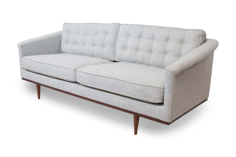 Mid Century Danish Style Modern Tufted Sofa with Walnut Legs, Contemporary  Couch, Reversible Seat and Back Cushions, Retro Design