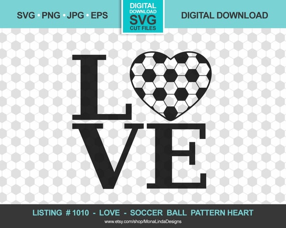 Soccer Ball Pattern Heart- Love, Sports, Instant Digital Download,  Silhouette, Cricut, Studio 3, DIY