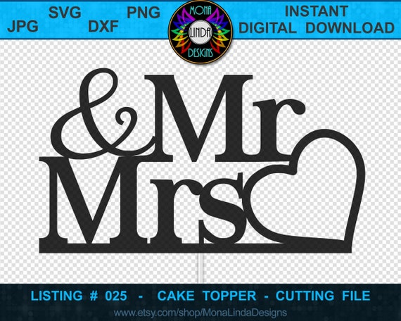 Mr /& Mrs Simple Connected Joint Wedding Cake Topper Vinyl Greeting Card SVG Cut-Out File For CricutSilhouette Die-cut Craft Vector DXF