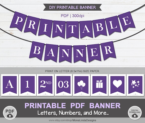 Printable Pdf Banner Purple And White Printable Pdf Alphabet Letter Banner Swallowtail Bunting Banner Violet Banner A Z 1 2 3