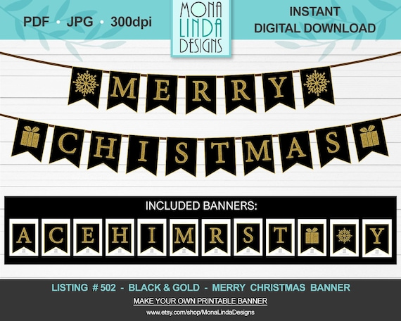 Printable Merry Christmas Banner Diy Swallowtail Christmas Banner Black And Gold Letters Winter Banner Garland Diy Printable Christmas D