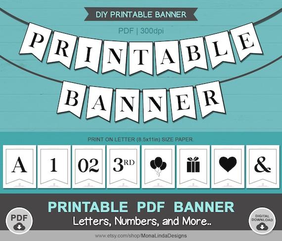 Printable Pdf Banner Printable Alphabet Letter Banner Printable Swallowtail Banner Bunting Banner Black And White Banner A Z Banner