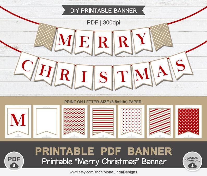 Printable Pdf Merry Christmas Banner Diy Printable Christmas Banner Holiday Banner Garland Diy Printable Christmas Party Decor