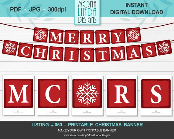 printable merry christmas banner diy square christmas banner etsy printable merry christmas banner diy square christmas banner red and white letters winter banner garland diy printable christmas decor