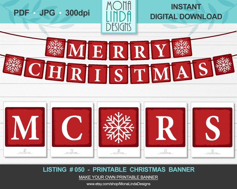photo about Printable Merry Christmas Banner identify Printable Merry Xmas Banner, Do-it-yourself Sq. Xmas Banner, Crimson and White Letters Wintertime Banner, Garland, Do-it-yourself Printable Xmas Decor
