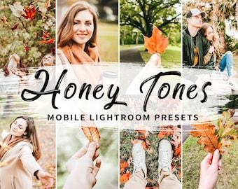 4 Mobile Lightroom Presets Honey Tones, Mobile Warm Lightroom Presets, Fall Mobile Presets