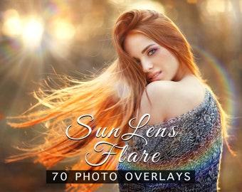 70 Sun Lens Flare Photo Overlays, JPEG Overlays for Photoshop